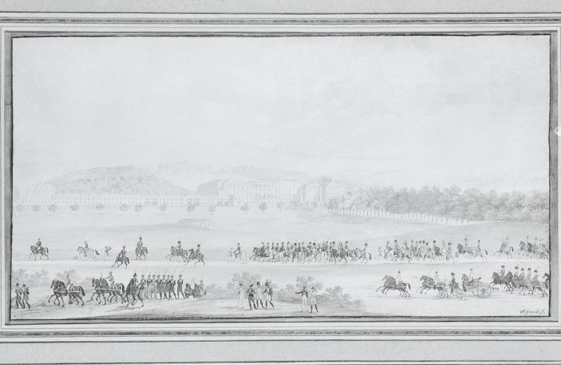 """""""Napoleon an der Spitze seiner Truppen von Schönbrunn in Wien"""""""