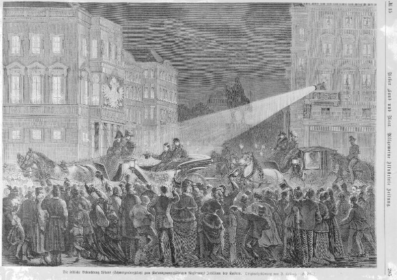 Festliche Beleuchtung Wiens zum Regierungsjubiläum Kaiser Franz Joseph 1873