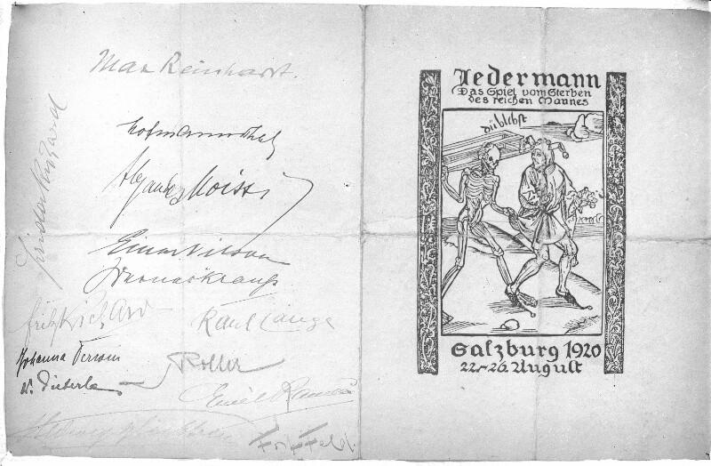 """Theaterzettel zum Salzburger """"Jedermann"""""""