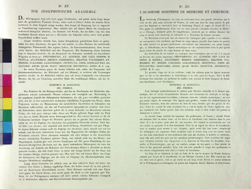 Wien: Josephinum, um 1787. (Text).
