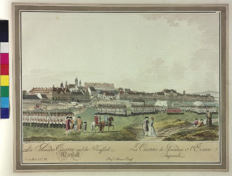 Wien: Grenadierkaserne und Hofstallungen, um 1780.