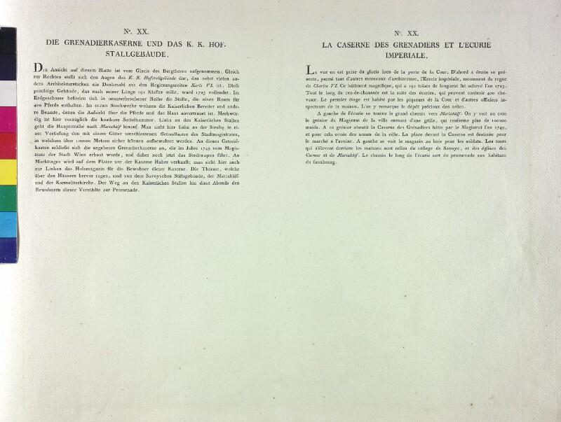 Wien: Grenadierkaserne und Hofstallungen, um 1780, (Text).