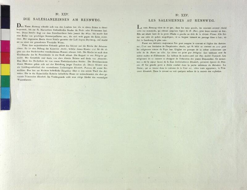 Wien: Kirche und Kloster der Salesianerinnen, um 1785. (Text).