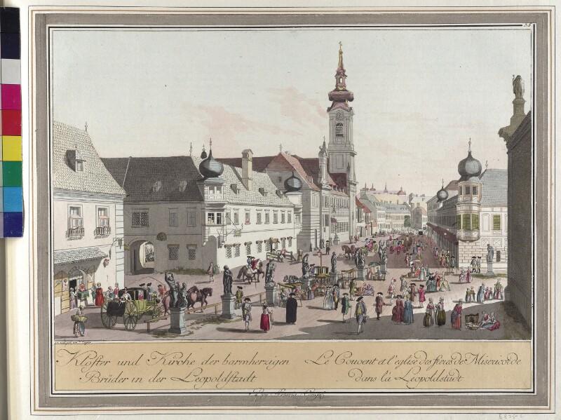 Wien 2., Taborstraße; Kirche und Kloster der Barmherzigen Brüder, um 1783.