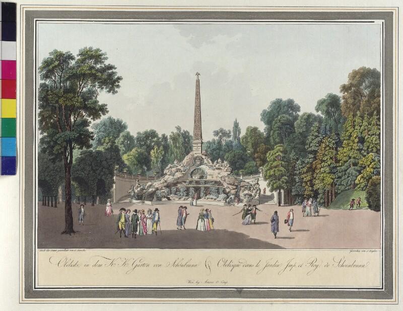 Wien: Schönbrunn: Obelisk, um 1796.