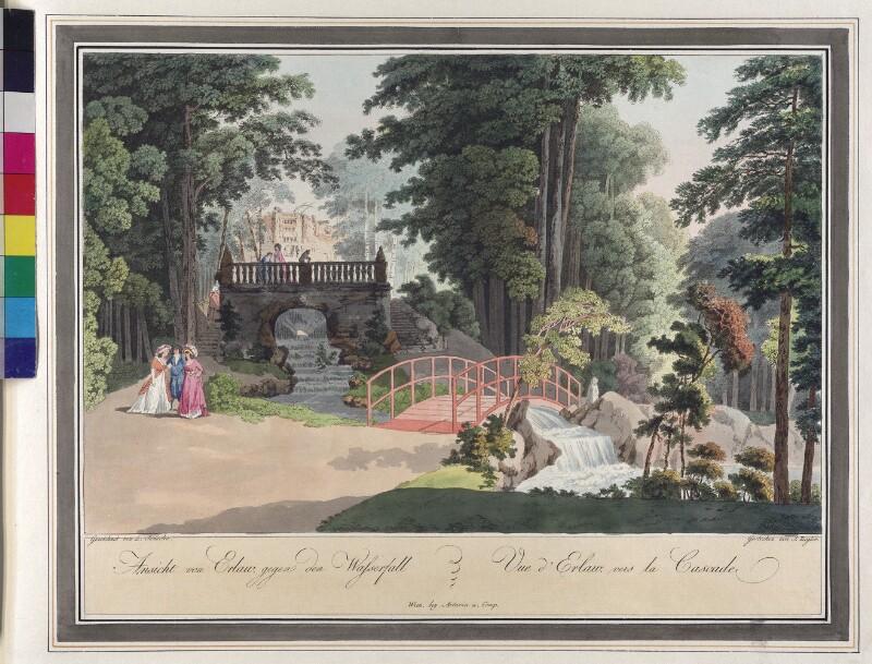 Wien 23., Erlaa: Schloßpark mit Wasserfall, um 1792.
