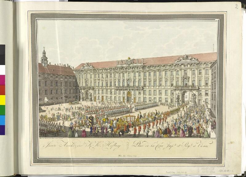 Wien 1., In der Burg: Hofburg, Reichskanzleitrakt, um 1792.