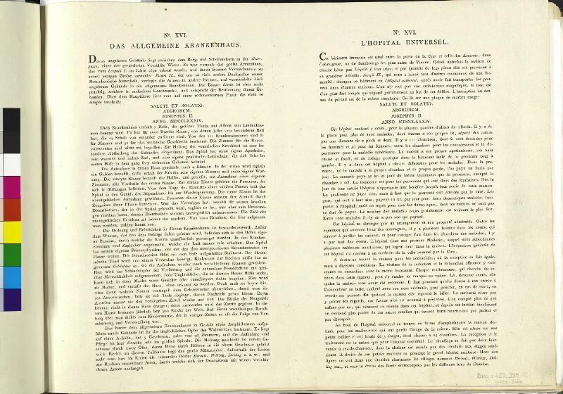 Wien: Allgemeines Krankenhaus, um 1790. (Text).