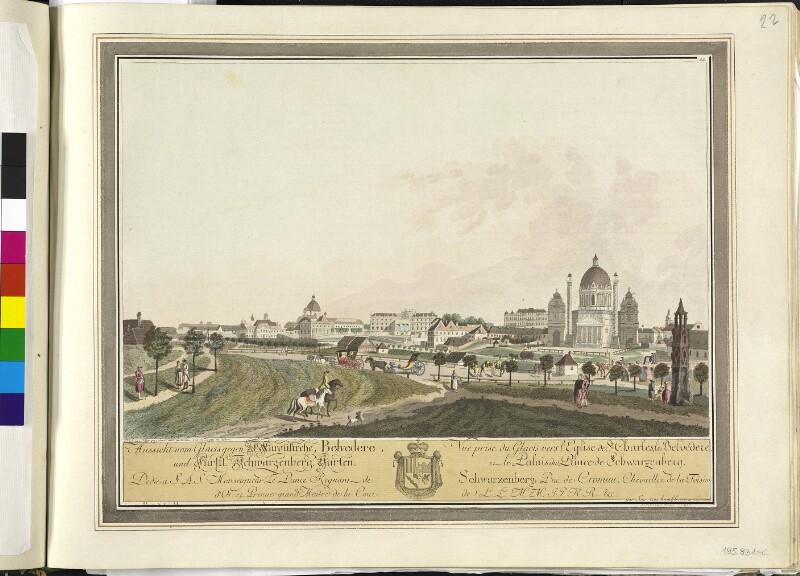 Wien: Karlskirche, Belvedere, Palais Schwarzenberg, um 1790.