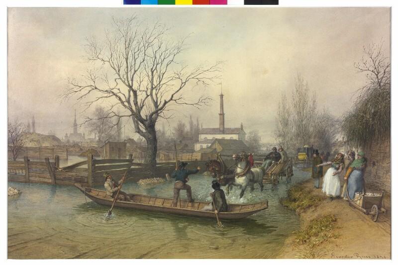 Überschwemmung bei Nussdorf, 1846