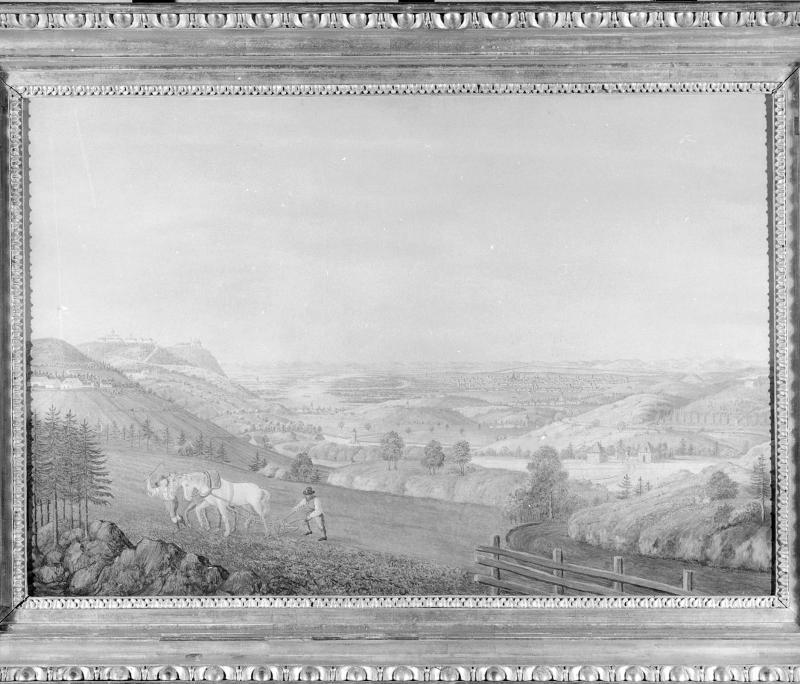 Rudolf von Alt (zugeschrieben), Blick auf Wien mit Kahlen- und Leopoldsberg