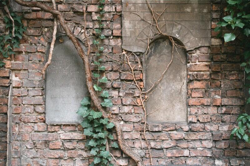Verwitterte Grabsteine an einer alten Mauer