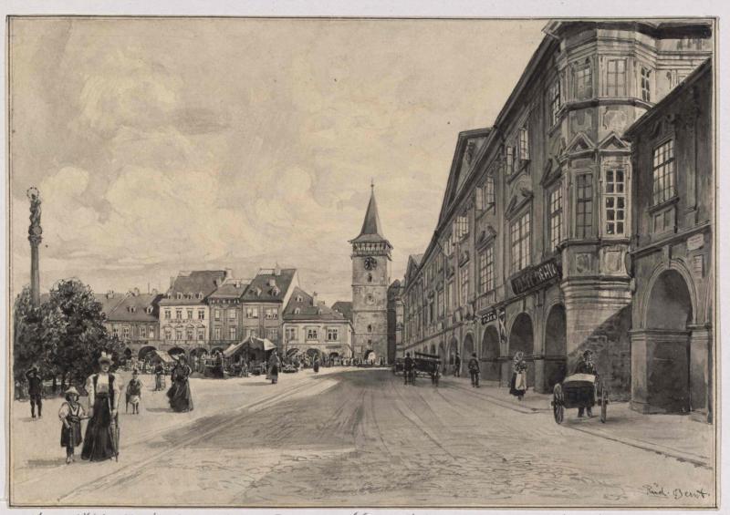 Der Marktplatz von Gitschin (Jičín) mit der Residenz Wallensteins