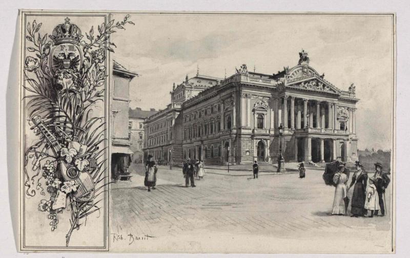 Mahen-Theater, Aquarell von Rudolf Bernt, vor 1897©Bildarchiv Austria, ÖNB