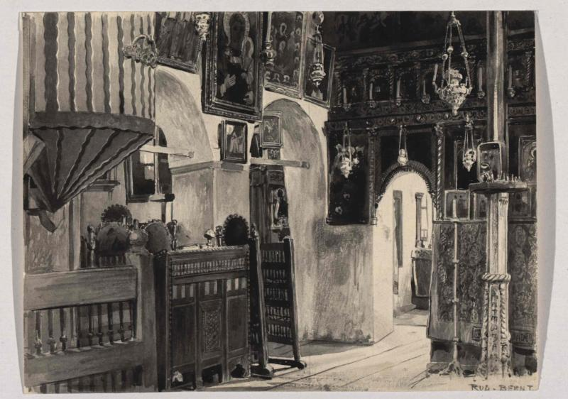 Aus dem Inneren der alten orientalisch-orthodoxen Kirche in Sarajevo