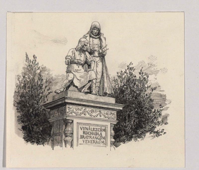 Denkmal der Erfinder des Ruchadlo-Pflugs in Pardubitz