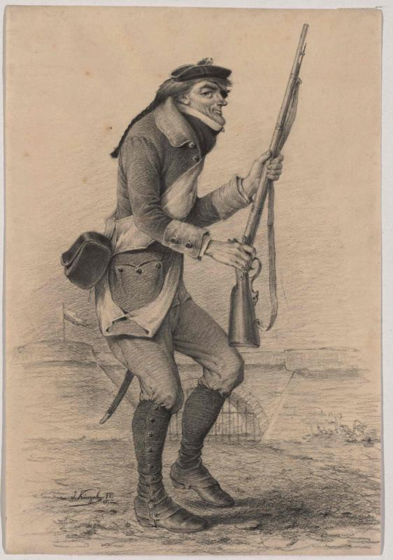 """Johann Nestroy als Sansquartier in den """"Zwölf Mädchen in Uniform"""""""