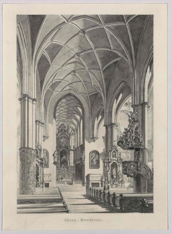 Aus dem Inneren der Domkirche in Graz