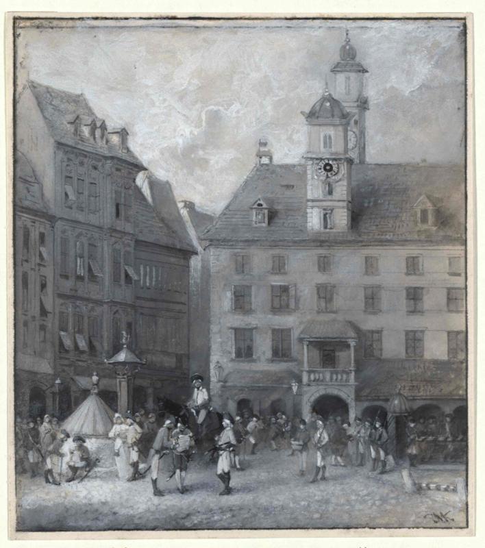 Die Gratzer Bürger und die Franken auf der Hauptwache zu Gratz in April 1797. Nach Stich von Mathieu