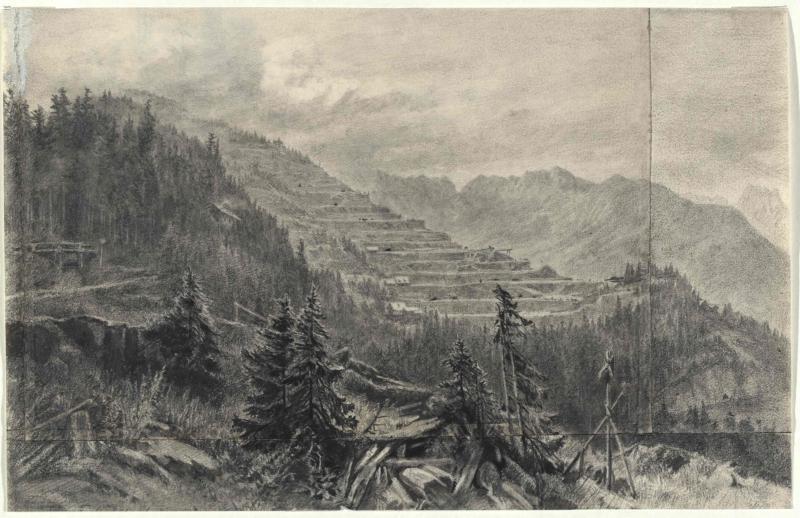 Die Abbauetagen am Erzberg zu Eisenerz