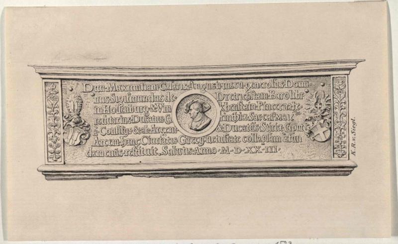 Gedenktafel aus Bronze  von der Burg in Graz aus dem Jahr 1523