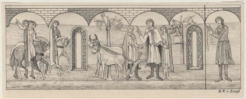 Zur Libussa-Sage  nach dem Wandgemälde im 'Heidentempel' in Znaim