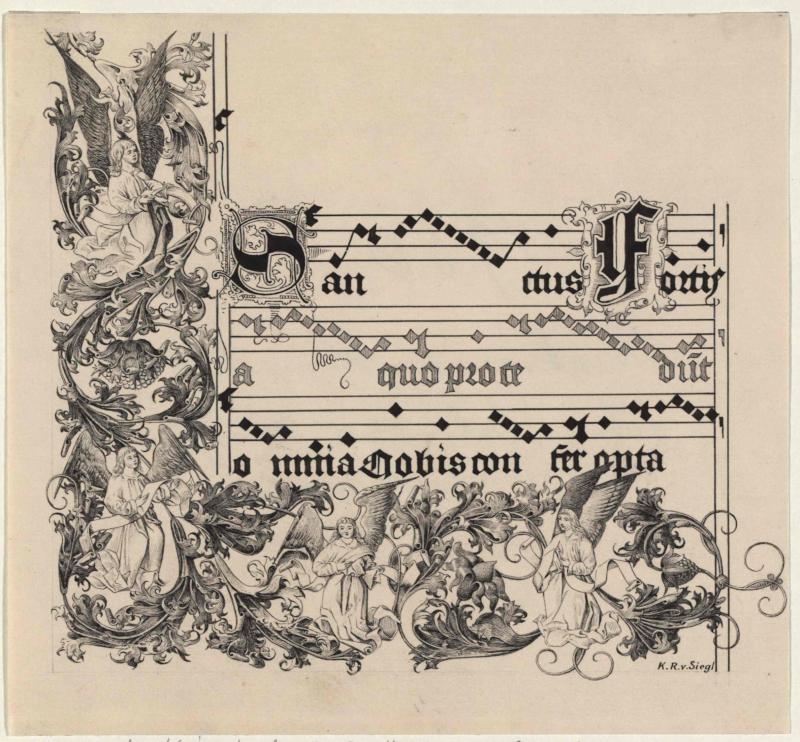 Aus dem Kyrie des lateinischen Canzionales von Jungbunzlau, um 1500