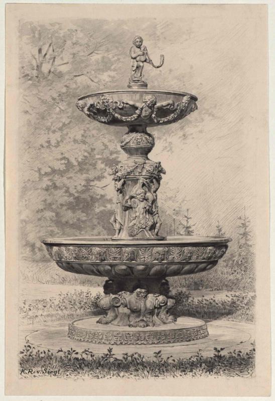 Der eherne Brunnen im Schloßgarten zu Prag
