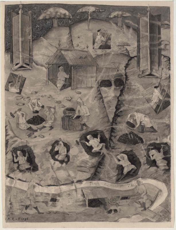 Darstellung des Kuttenberger Bergwerksbetriebes aus dem 15. Jahrhundert