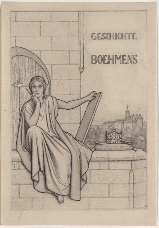Titelbild zur Geschichte Böhmens: Die Muse Klio, die böhmische Krone, Blick auf Prag