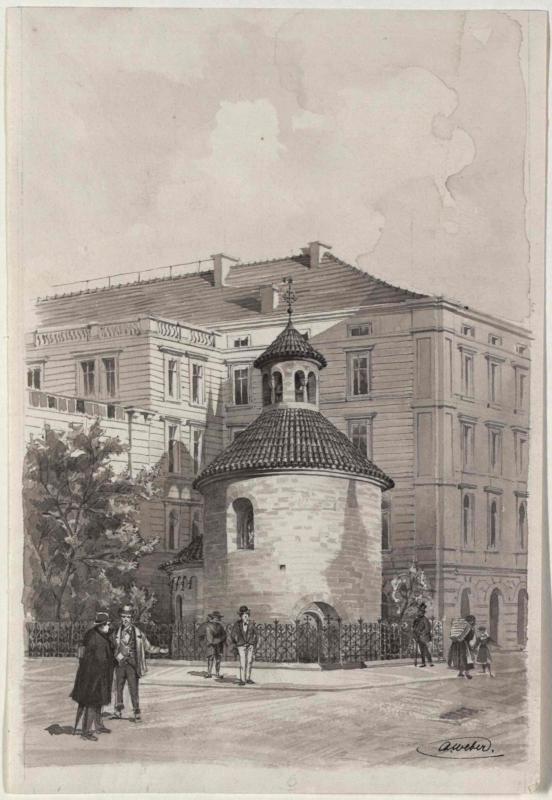 Die Heilig-Kreuz-Rotunde in der Postgasse in Prag