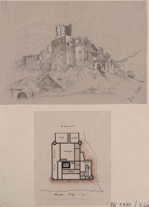 Burgruine Streitwiesen - Ansicht und Grundriss