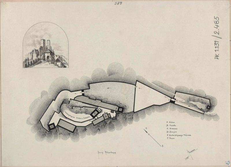 Burg Hardegg - Grundriss und Ansicht von Süden