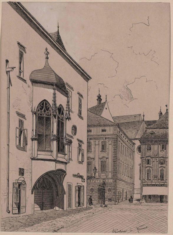 Das Göglhaus in Krems mit spätgotischen Torerker