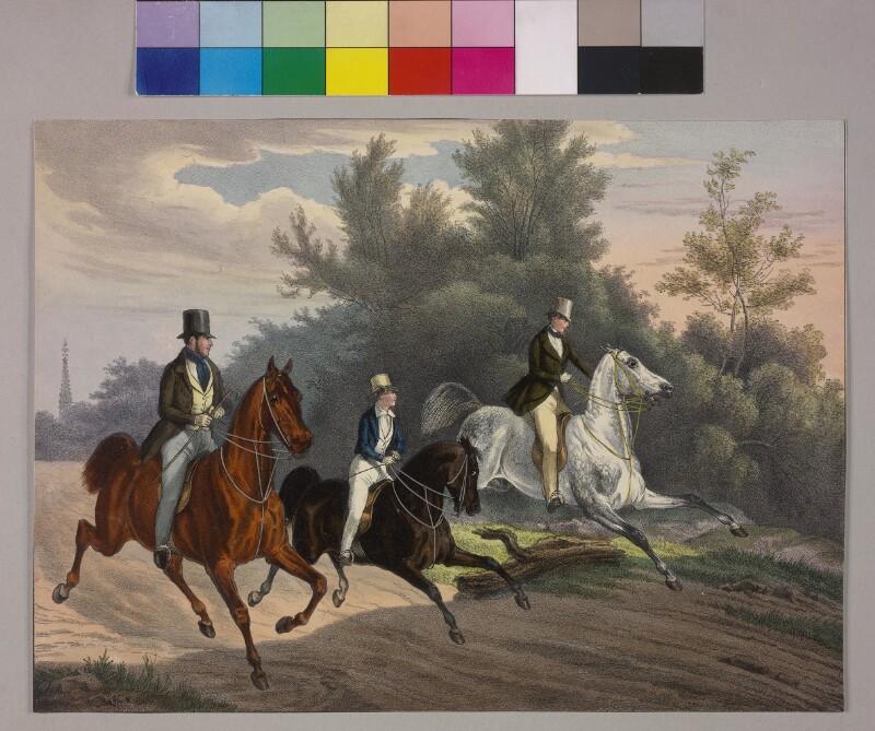 Erzherzog Franz Joseph reitet mit zwei Begleitern durch den Prater