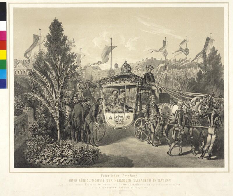 Feierlicher Empfang Ihrer königl. Hoheit der Herzogin Elisabeth in Bayern durch den Bürgermeister Ritter von Seiller und den Gemeinderath der k.k. Haupt- und Residenzstadt Wien, an der Elisabethen Brücke am 23. April 1854
