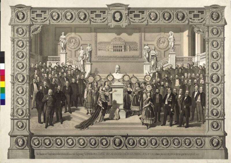 Die Künstler und Kunstindustriellen, welche sich unter der Regierung Seiner Majestät des Kaisers u. Königs Franz Josef I. bei Erbauung des neuen Opernhauses hervorragend verdient gemacht haben