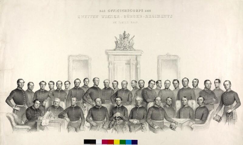 Das Officierscorps des zweiten Wiener-Bürger-Regiments im Jahre 1846