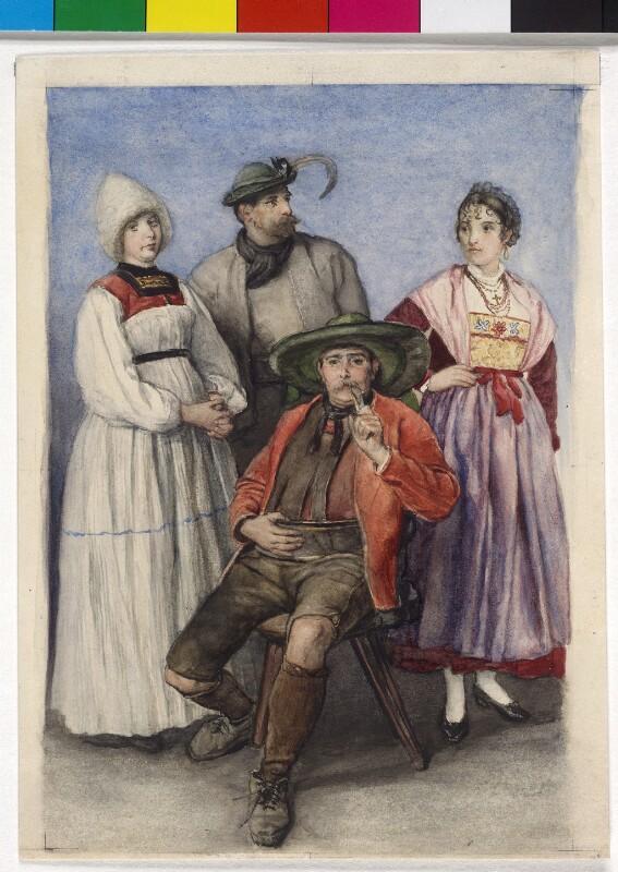 Alte Tracht einer Bregenzerwälderin; Mann aus Dux; Mann mit rotem 'Hemd' aus dem Sarntal; Frauentracht aus Castell tessina.