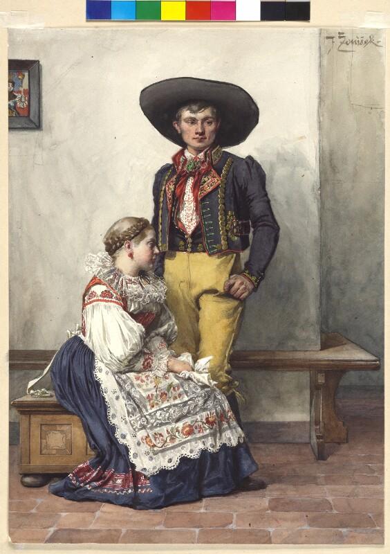 Trachten aus Böhmen: Weibliche Tracht aus der Blata-<br/>Gegend und männliche Tracht aus der Gegend von Taus,<br/>(Domažlic - Domazlitz)