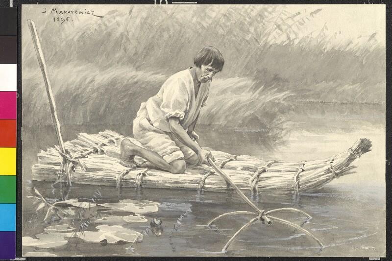 Fischdieb auf einem Rohrfloß