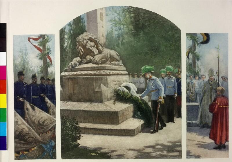 Kaiser Franz Joseph I. bei der Gedenkfeier für die Schlacht bei Aspern (21. Mai 1909)