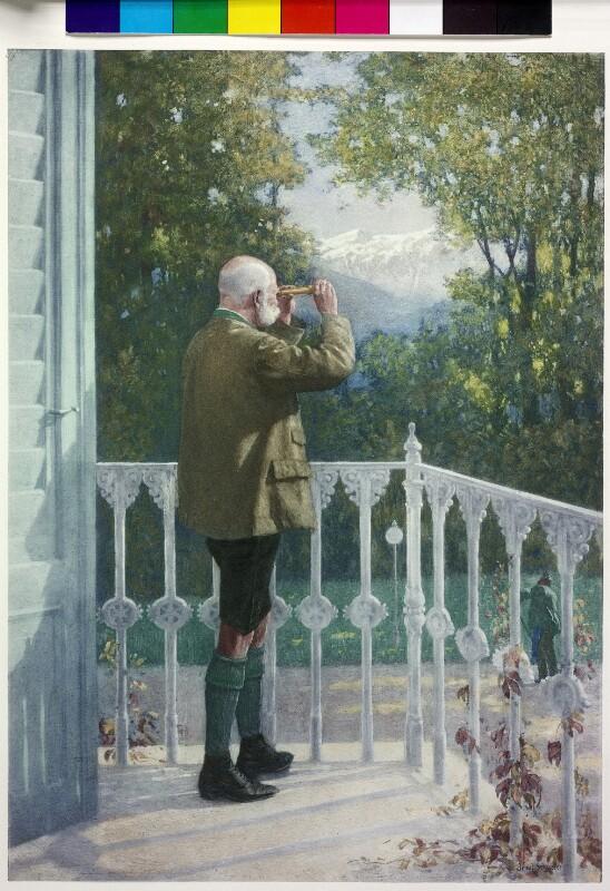 Franz Joseph I., Kaiser von Österreich schaut nach dem Wetter aus