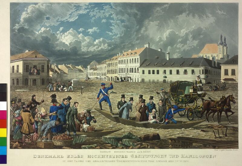 Kaiser Franz II./I. besichtigt den Schaden der Überschwemmung in der Rossau im März 1830