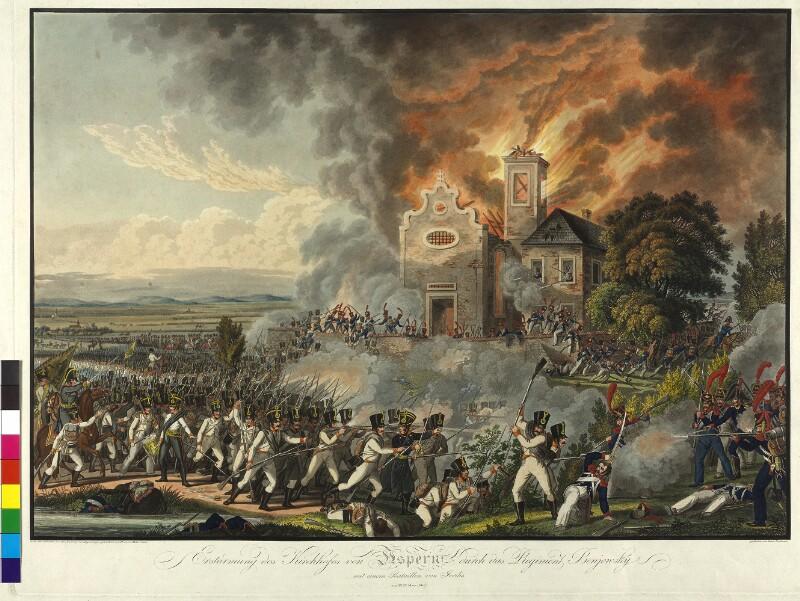 Erstürmung des Kirchhofes von Aspern durch das Regiment Benjowsky mit einem Bataillon von Jordis am 22ten May 1809