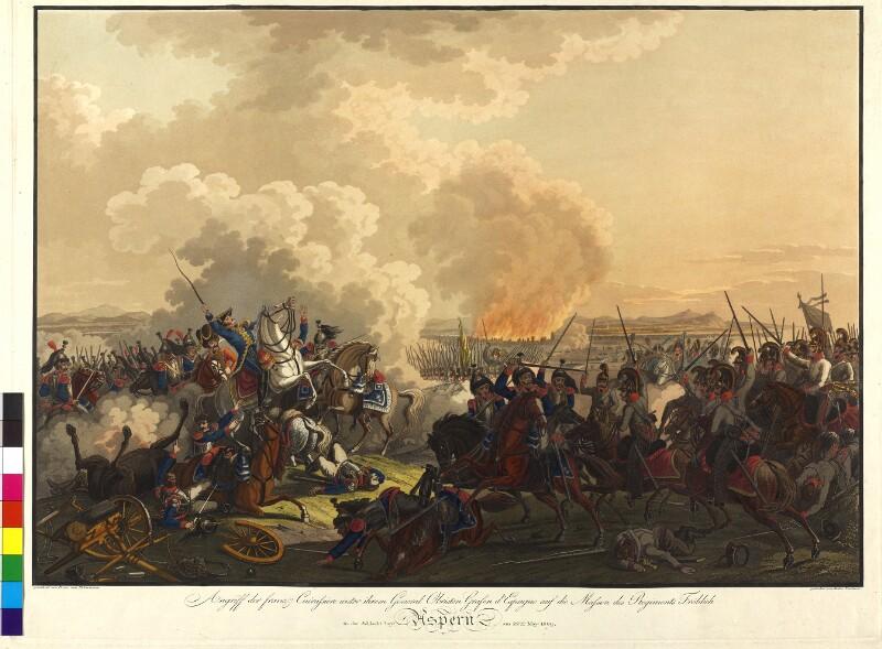 Angriff der franz. Cuirassiere unter dem General Obristen Grafen d'Espagne auf die Massen des Regiments Fröhlich in der Schlacht bey Aspern am 22ten May 1809