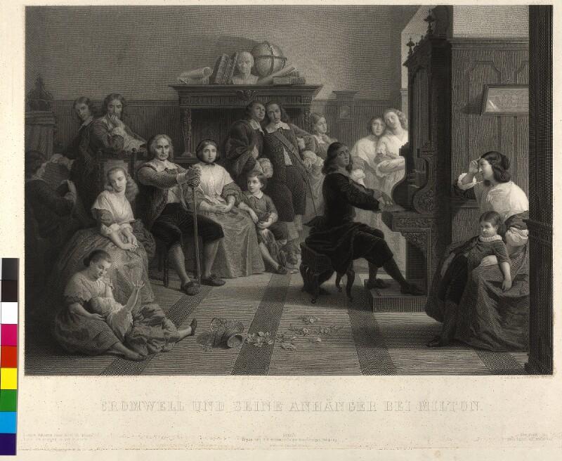 Cromwell und seine Anhänger bei Milton