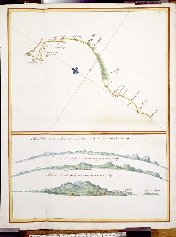 Landkarte der Küste südlich von Cape Verde mit Küstenprofilen