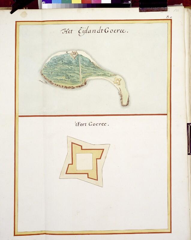 Landkarte der Insel Gorée und Plan ihrer Festung