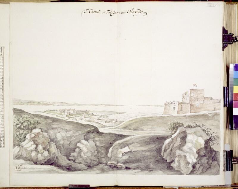 Ansicht der Festung und des Schlosses auf der Insel Gorée